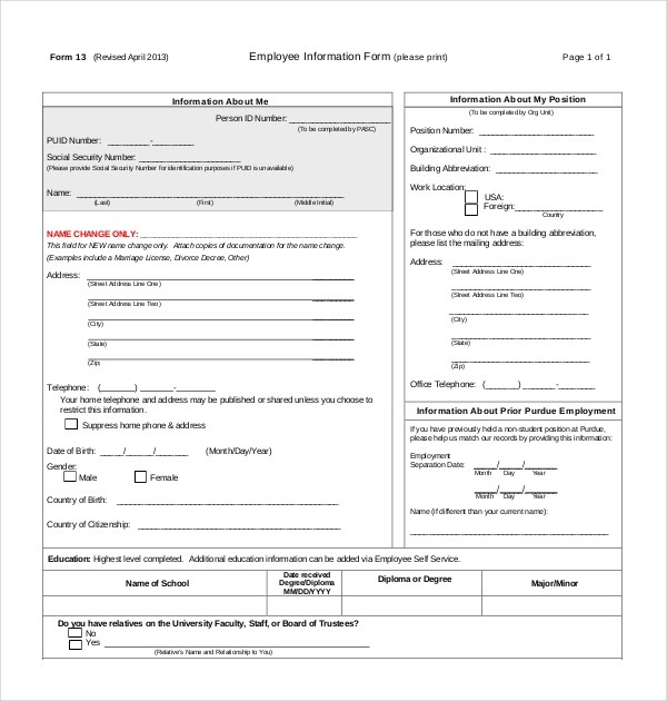 11+ Sample Employee Information Forms Sample Forms - employee information form