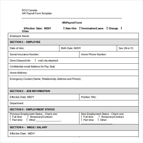 salary change form template - Boatjeremyeaton - Printable Address Change Form