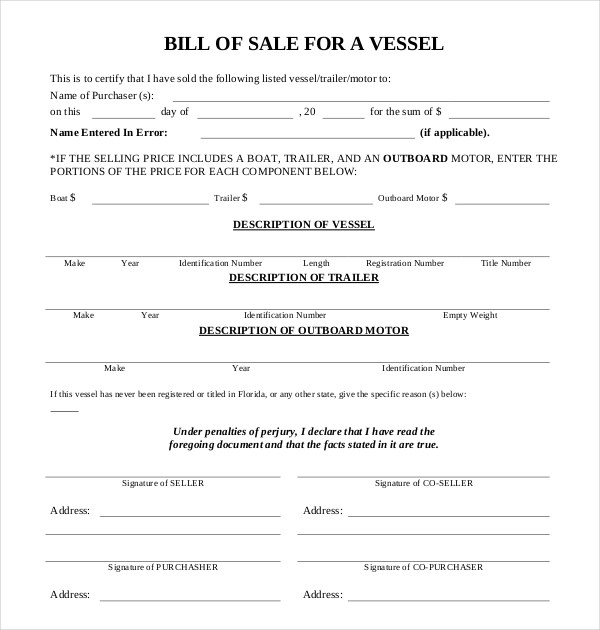 bill of sale for boat motor and trailer - Eczasolinf