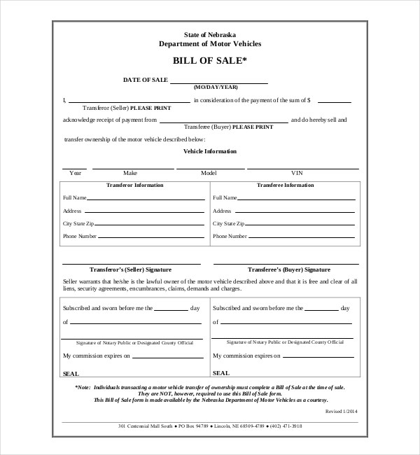15+ Sample DMV Bill of Sale Forms Sample Forms