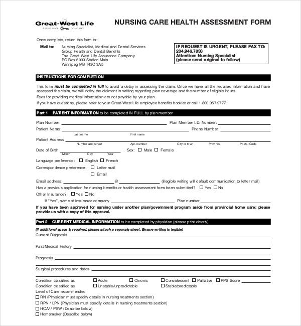 Sample Nursing Assessment Forms - 7+ Free Documents in PDF, Word - nursing assessment template