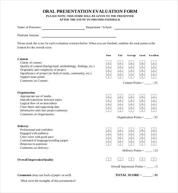 13+ Sample Presentation Evaluation Forms Sample Forms