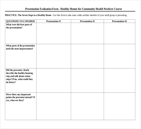 13+ Sample Presentation Evaluation Forms Sample Forms