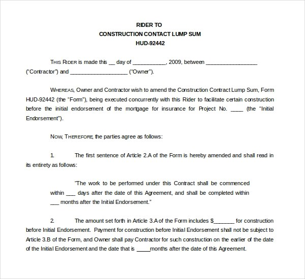 10+ Sample Construction Contract Forms Sample Forms - contract amendment template