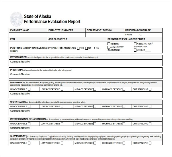 10+ Sample Performance Evaluation Forms Sample Forms