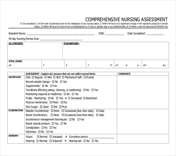 Nursing Assessment Form Comprehensive Nursing Assessment Form