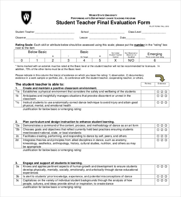 Awesome Sample Student Evaluation Form Contemporary  Best Resume