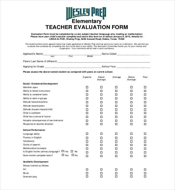 18+ Sample Teacher Evaluation Forms Sample Forms