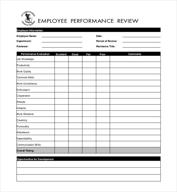 Basic Employee Evaluation Form  Resume For Office Manager