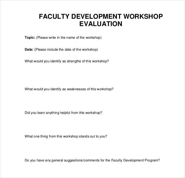 sample workshop evaluation form lukex - sample workshop evaluation form example