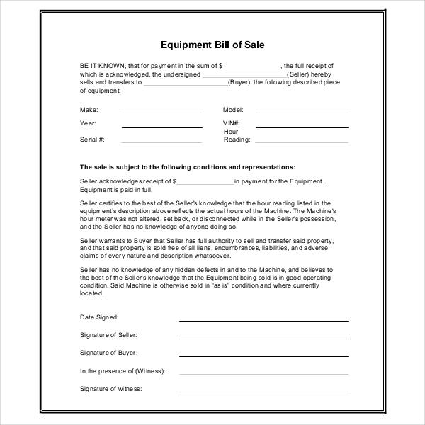 equipment bill of sale pdf