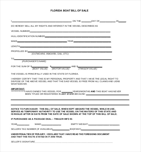 Sample Boat Bill of Sale Form - 15+ Free Documents in PDF, Doc - trailer bill of sales