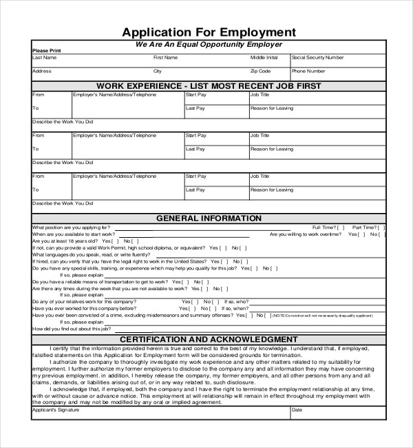 Sample Employment Application Forms - 12+ Free Documents in PDF, Doc - Generic Application For Employment