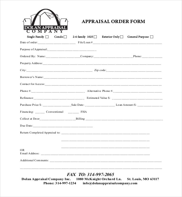 ... Sample Appraisal Order Forms   7+ Free Documents In Word, PDF    Property Assessment ...