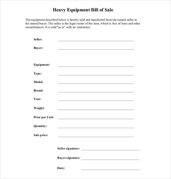 7+ Sample Equipment Bill of Sale Forms Sample Forms - equipment bill of sale