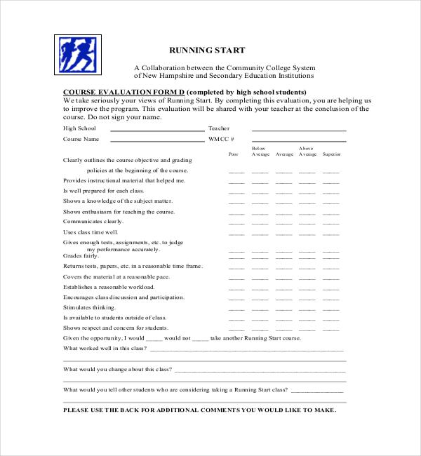 23+ Sample Course Evaluation Form