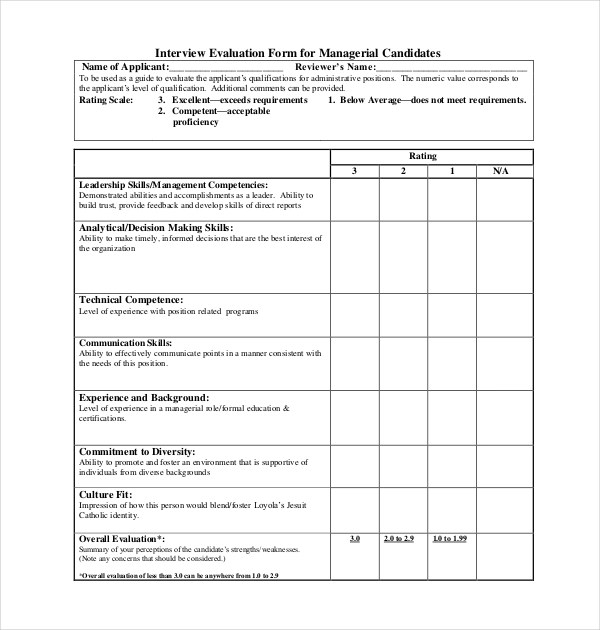 12+ Sample Interview Assessment Forms Sample Forms - Sample Interview Evaluation Comments