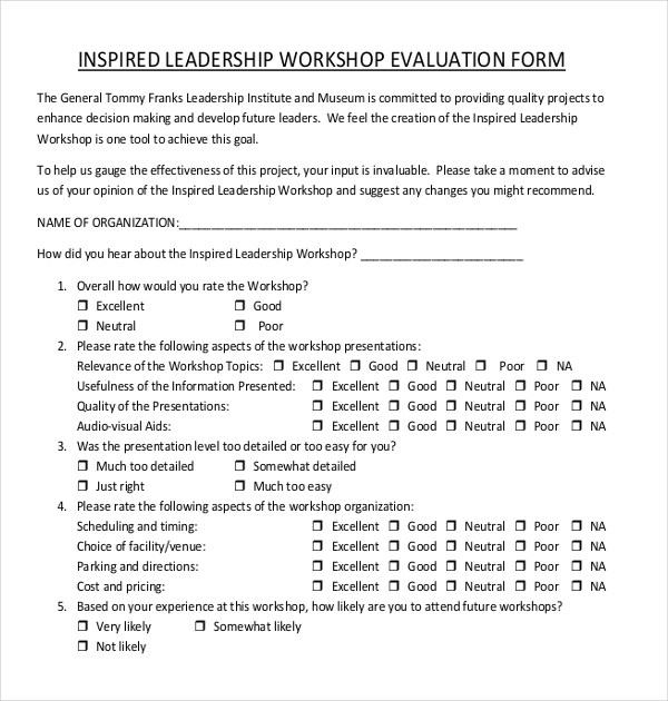 ... Sample Workshop Evaluation Forms   15+ Free Documents In PDF, Doc    Leadership Evaluation ...