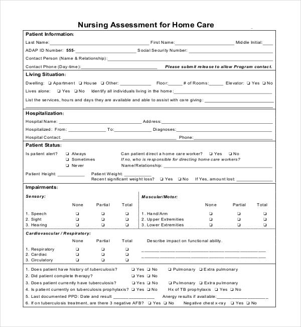 nursing assessment form sample nursing assessment form sample - nursing assessment forms