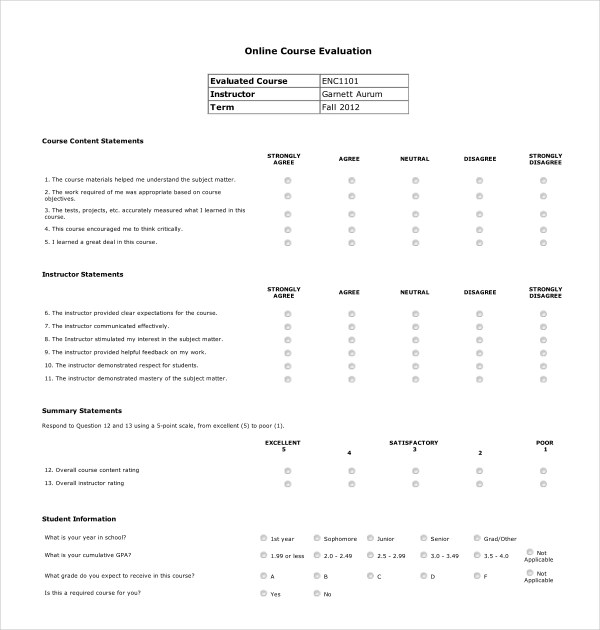 Course Assessment Template Gallery - Template Design Ideas