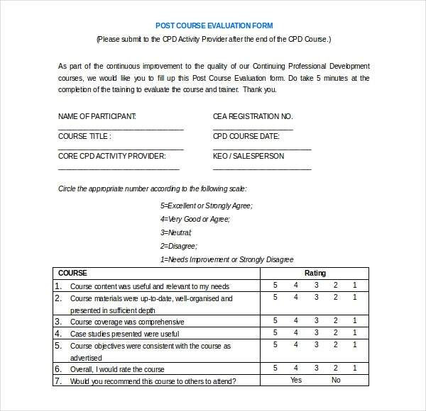 23+ Sample Course Evaluation Form - class evaluation template