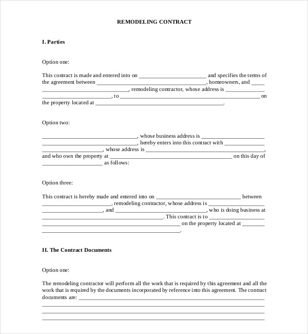 ... Remodeling Contract Template Sample Residential Remodeling   Remodeling  Contract Template Sample ...