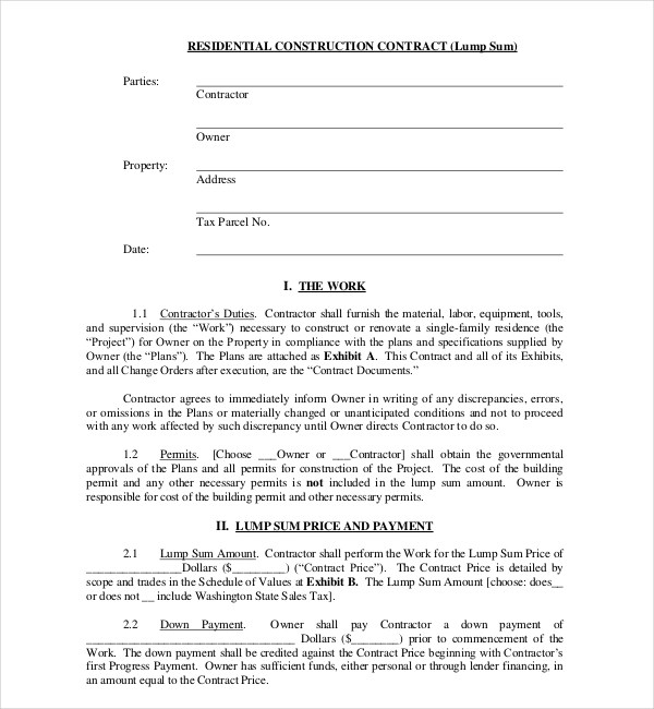 10+ Sample Construction Contract Forms Sample Forms