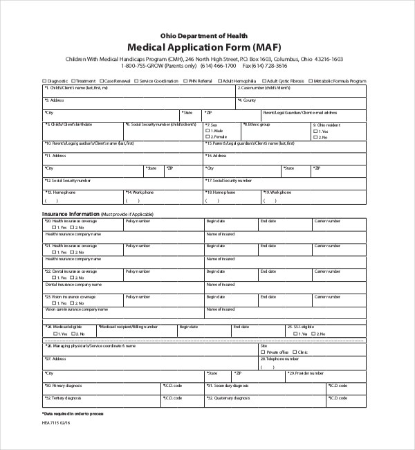 Sample Medical Application Forms - 8+ Free Documents in PDF, Doc - sample medical application form