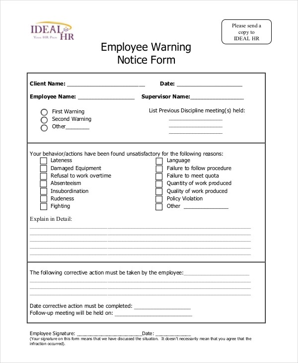 employee details form sample – Employee Notice Form