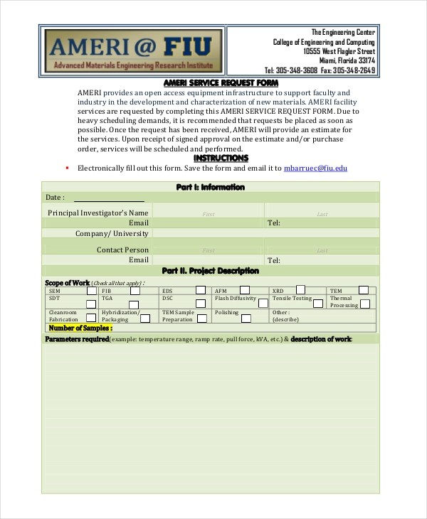 9+ Sample Service Request Forms Sample Forms - material request form