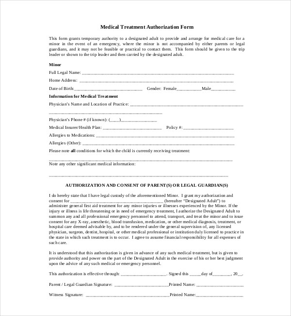 14+ Sample Medical Authorization Forms Sample Forms