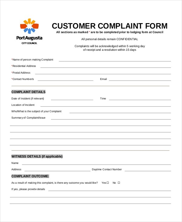 Customer Complaint Form - 8+ Free PDF, DOC - customer complaints form template