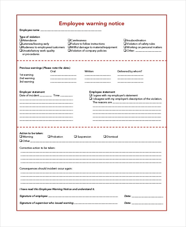 6+ Sample Employee Warning Notice Forms Sample Forms