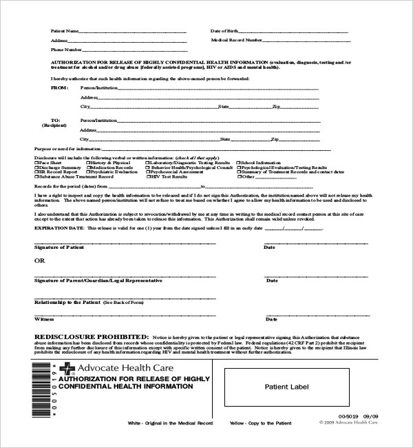 medical authorization form template – Medical Authorization Release Form