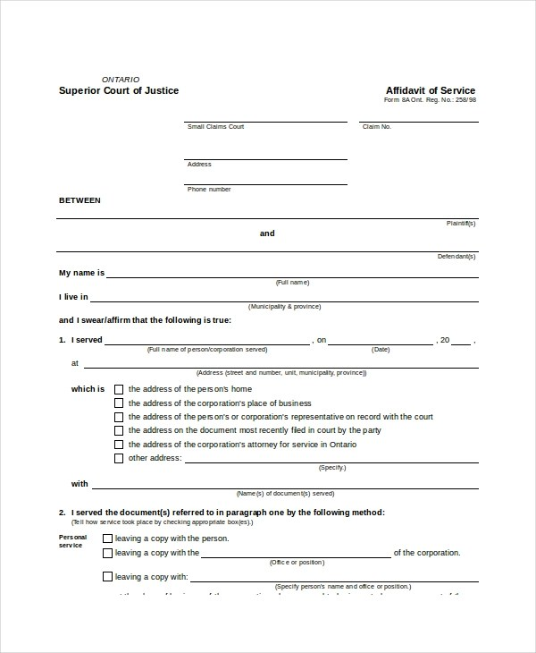 Sample Affidavit of Service Forms - 10 Free Documents in PDF, Doc - affidavit formats