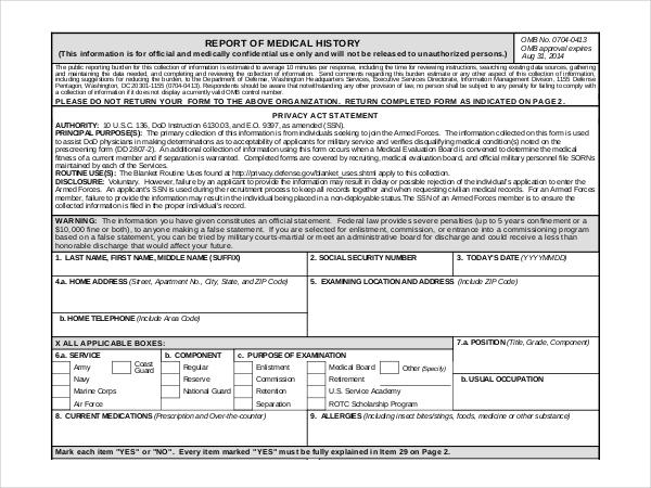Sample Medical History Form Medical History Template Download - medical history forms