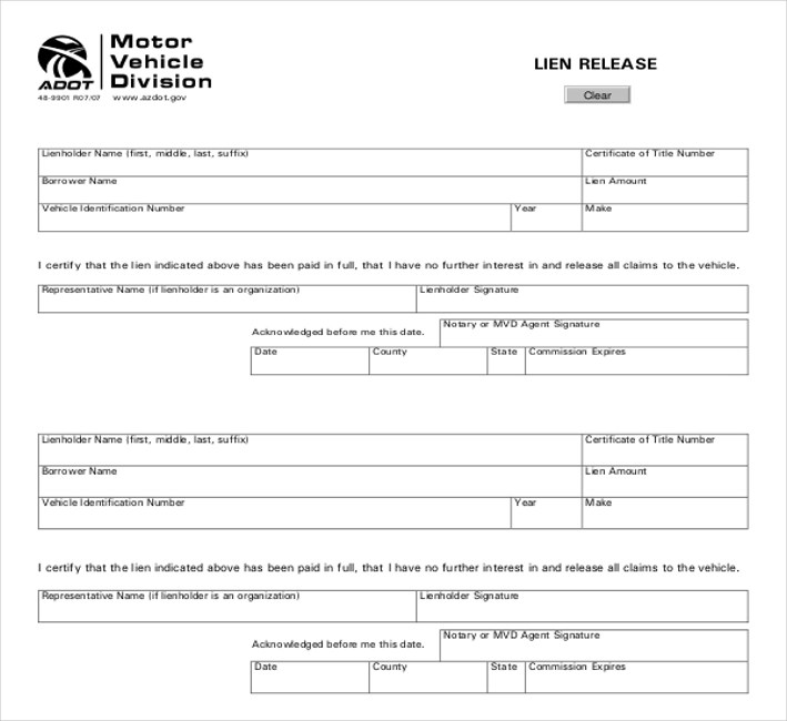 11+ Sample Lien Release Forms Sample Forms - release of interest form