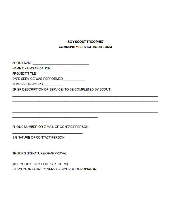 Service Hour Form  CvresumeUnicloudPl