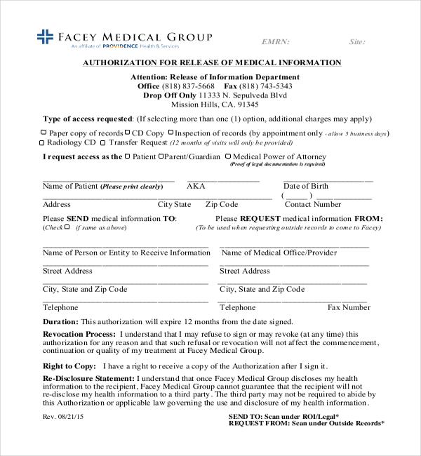 Sample Medical Authorization Form Medical Authorization Form