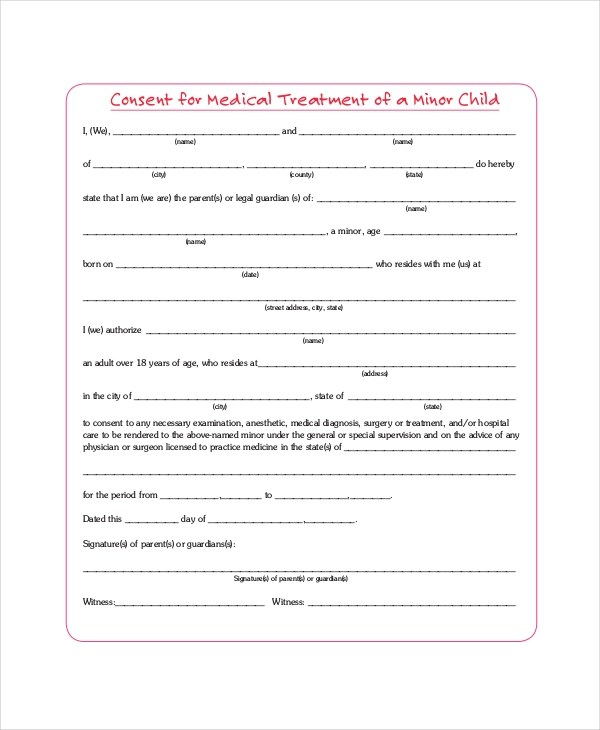 Sample Medical Consent Forms - 8+ Free Documents in PDF, Doc - child medical consent form