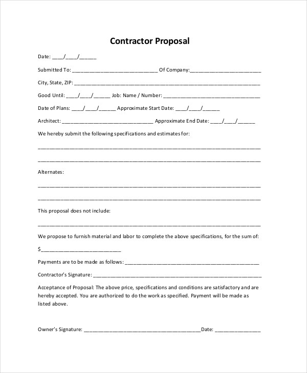 Sample Construction Proposal Forms - 7+ Free Documents in PDF, Doc