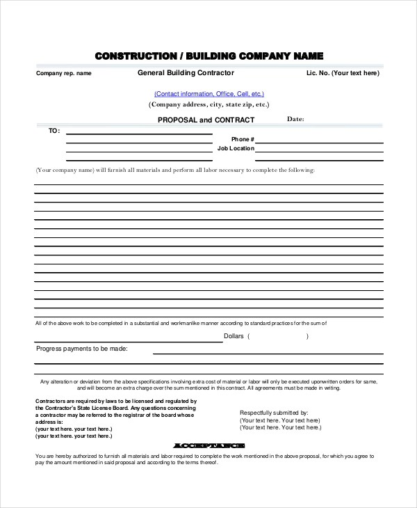 Sample Construction Proposal Forms - 7+ Free Documents in PDF, Doc - free proposal forms