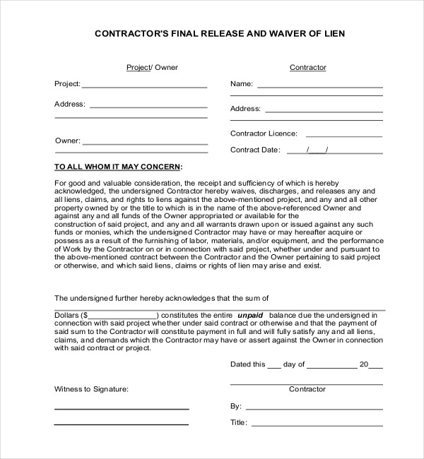 11+ Sample Lien Release Forms Sample Forms