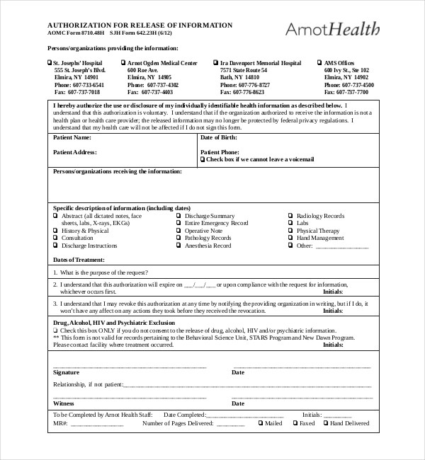Release Form Dental Records | Sample Resume For Job Of Teacher