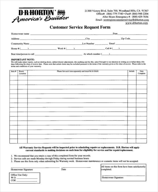 9+ Sample Service Request Forms Sample Forms
