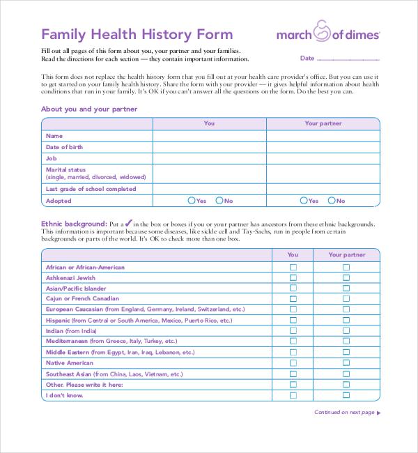 Sample Medical Form Sample Medical History Forms Sample Forms