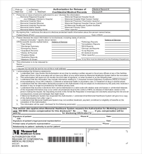 Doc#668447 Personal Information Release Form u2013 Doc728943 Release - sample medical records release form