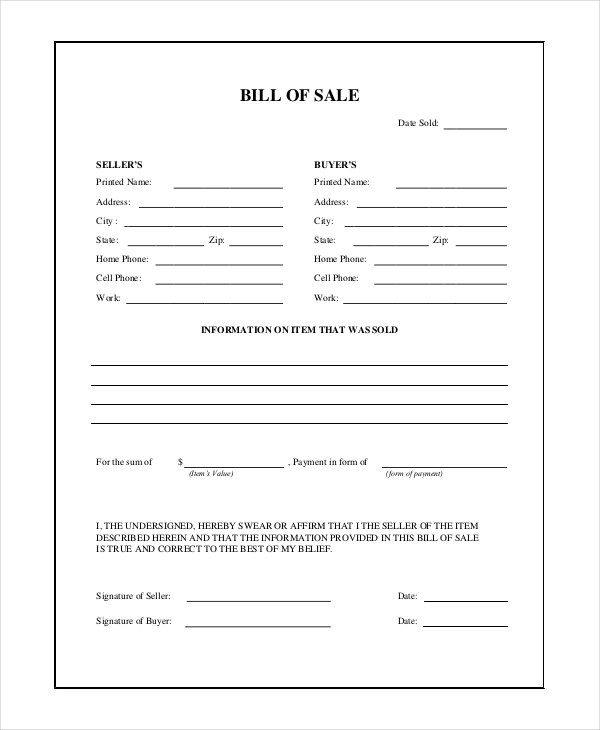 7+ Sample General Bill of Sale Forms Sample Forms