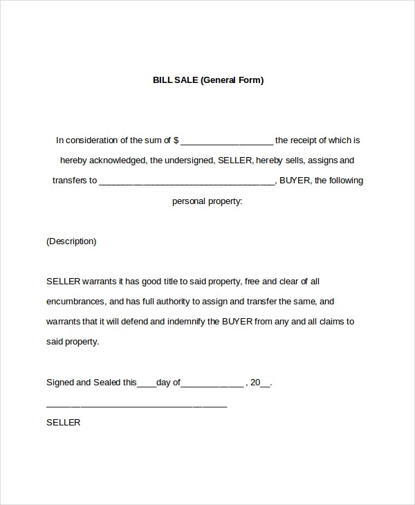 7+ Sample General Bill of Sale Forms Sample Forms - sample bill of sale