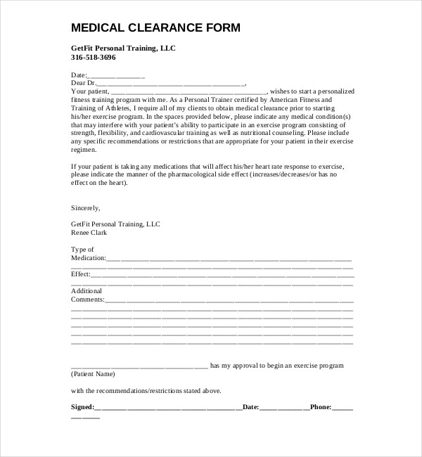 Doc585450 Sample Medical Clearance Form Medical Clearance – Sample Medical Clearance Form